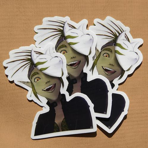 Green Elf Clear Cut Sticker