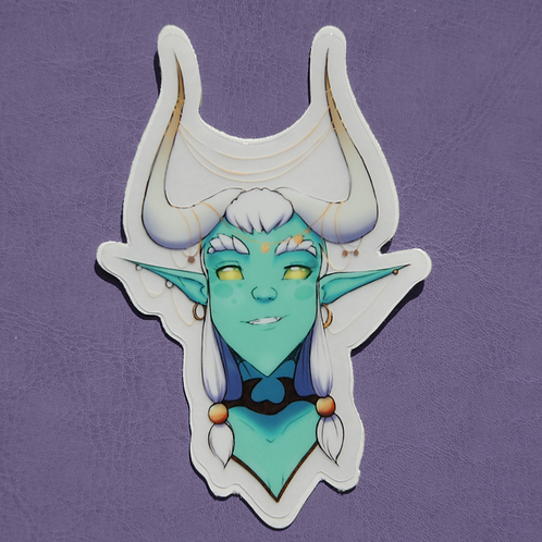 Blue Tiefling Clear Cut Sticker