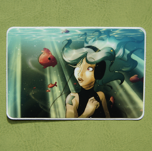 Underwater Headphones Rectangle Sticker