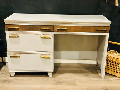 Gray and walnut desk
