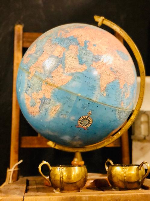 Vintage globe on wood base