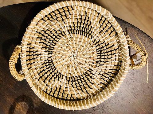 Boho round wicker tray- Large