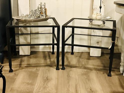 Metal and glass end table set