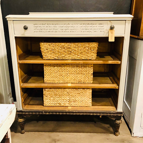 Antique dresser/shelf with baskets
