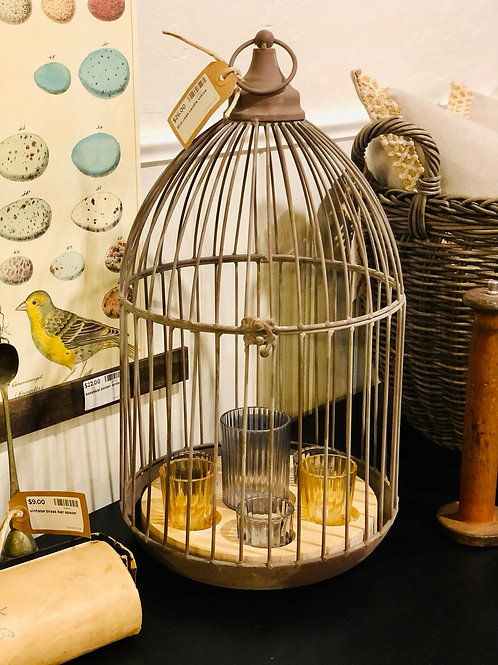 Bird cage candle votive