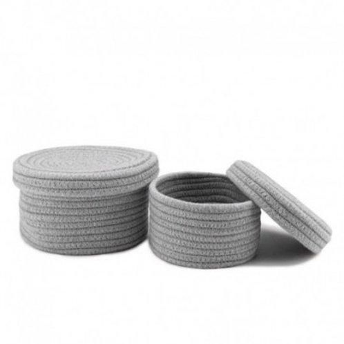 Contenedor de algodón tejido con tapa