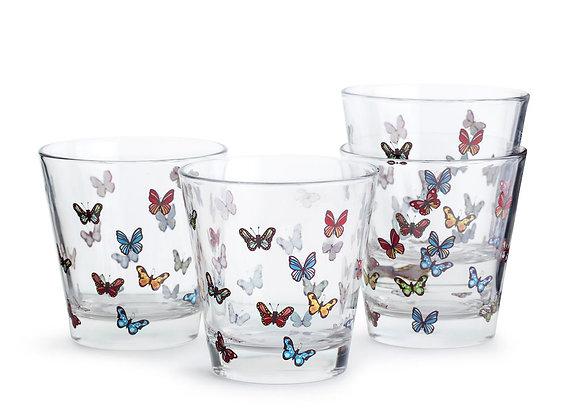 Butterfly glas - 4-pak - Flere farver