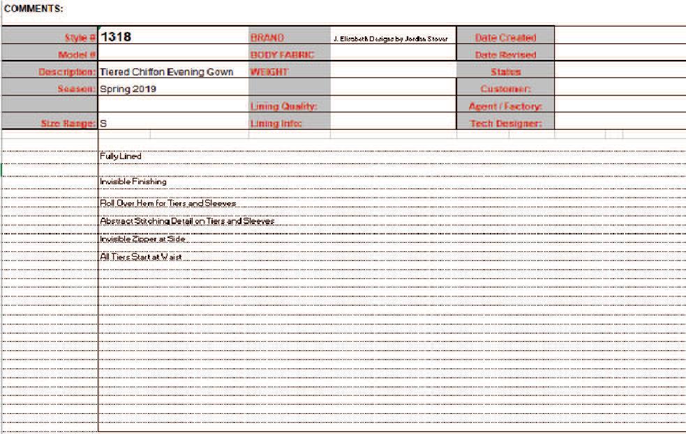 Spec Sheet 1 Comments