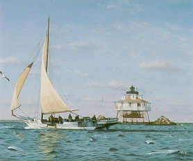 Skipjack Kathryn rounding Thomas Point Lighthouse