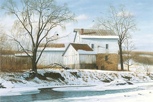 The Call to Ivory Mill - snow-covered Harford County historic landmark