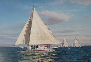 "Skipjack Fine Art Print by David T. Turnbaugh - ""Cold Front Winds"" - Skipjack Martha Lewis"