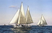 "Skipjack Fine Art Print by David T. Turnbaugh - ""Heading Down Bay"" - Skipjack The Mamie Mister"