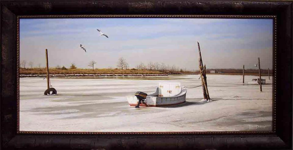 Original-Oil_Work-Boat_Snow-Thompson-Creek