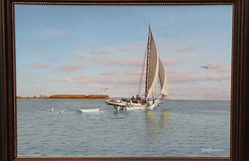 Original Oil Painting for Sale - Skipjack Ruby G Ford with dinghy in tow
