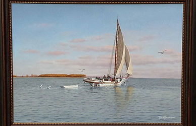 "Original Oil Painting, on Board, by David T. Turnbaugh - Skipjack Ruby G. Ford, with dingy in tow, ""Crossing the Choptank near Howell Point"""