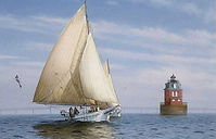 "Skipjack Fine Art Print by David T. Turnbaugh - ""Near Sandy Point Lighthouse and Chesapeake Bay Bridge"" - Skipjack The City of Crisfield"