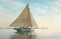 "Skipjack Fine Art Print by David T. Turnbaugh - ""Morning Calm"" - Skipjack The Elsworth"
