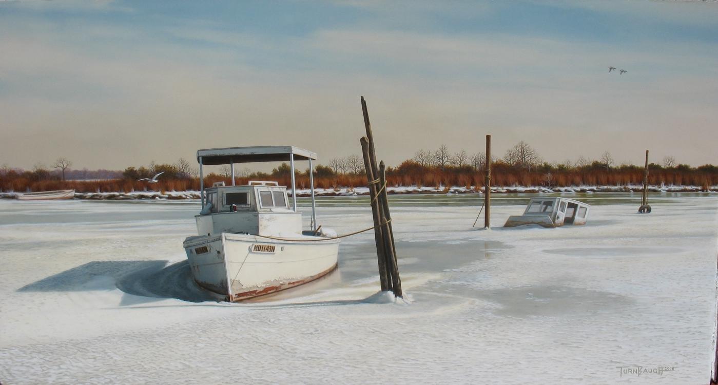 Original-Oil_Work-boat_Iced-In