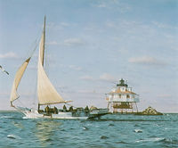"Skipjack Fine Art Print by David T. Turnbaugh - ""Passing Thomas Point Lighthouse"" - Skipjack The Kathryn"