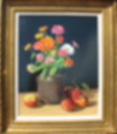 Original Oil on Board - Zinnias and Apples still life by David T. Turnaugh, Artist