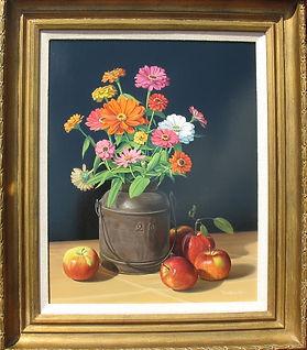 Original Oil on Board - Zinnias and Apples still life by David T. Turnaugh, Artist