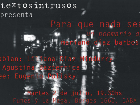 """Presento """"Para que nada sea"""", poemario de Mariano Díaz Barbosa"""