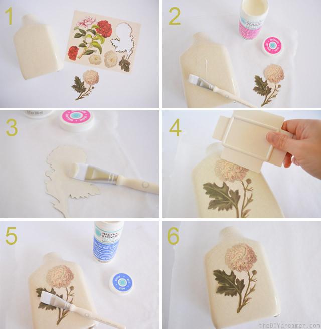 Decoupage on ceramic vase