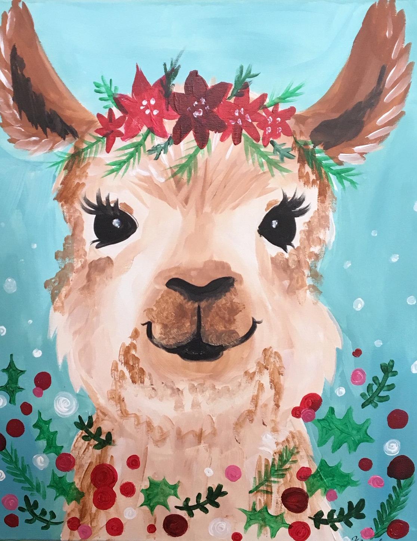 Christmas Llama.Sat Nov 9th 1pm Christmas Llama Cookies Canvas
