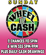 Jungle Casino: Sunday's Wheel of CASH +Plus Daily Cash drawings 5pm-9pm