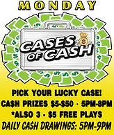 Jungle Casino: Monday's Cases of CASH +Plus Three $5 Free Plays +Plus Daily Cash Drawings