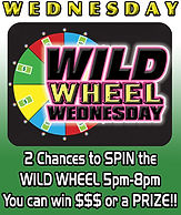 Jungle Casino Wild Wheel Wednesday: 2 chances to spin the wild 5p-9pm PLUS Cash Drawings