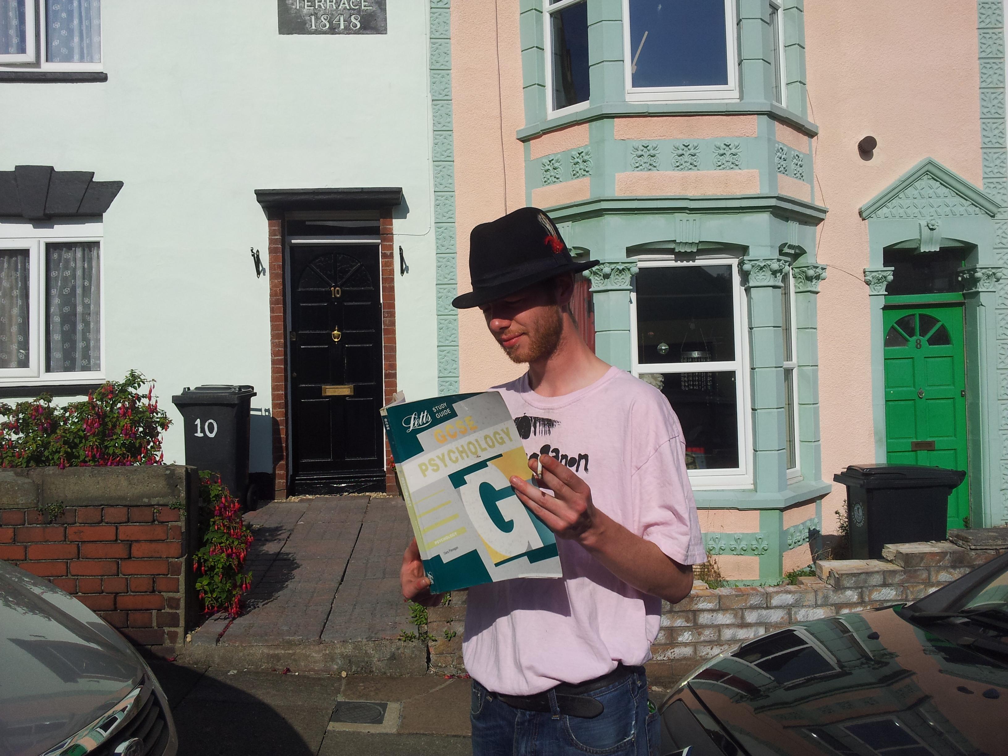 Found in Bristol, hat, GSCE book