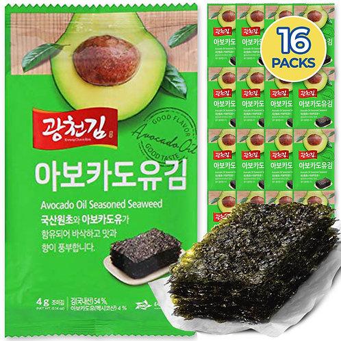 Avocado Oil Kwangcheonkim Seasoned Seaweed Snacks (16Packs)