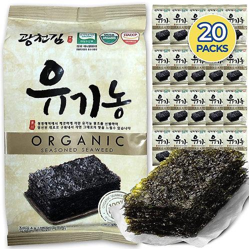 Organic Kwangcheonkim Seasoned Seaweed Snacks Sheets (20 Packs)