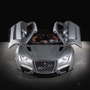 Auto eléctrico emblemático y elegante, reviviendo Hispano Suiza, esta vez eléctrico. Diseñado por QEV Technologies.