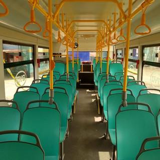 Interior del bus eléctrico urbano de 12mts diseñado según normas peruanas y el 1ro en entrar en operación en Perú. de San Juan de Lurigancho a Chorrillos; más de 240kms de recorrido diario.