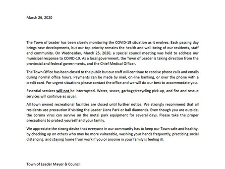 TOWN OF LEADER COVID-19 STATEMENT
