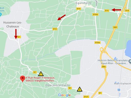 Travaux à Obermorschwihr: route barrée jusqu'au 30/06/2021!