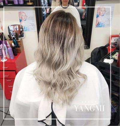 Platinum ash balayage ombre_yangmi galle