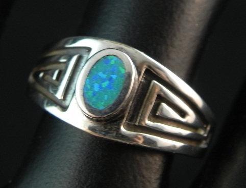 Silver & Lab Opal Ring sz 5 1/2