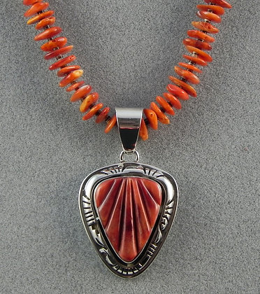 Silver & Orange Spiny Oyster Shell Necklace
