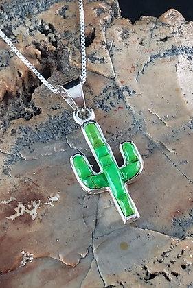 Silver & Gaspeite Reversible Cactus Pendant by Lena Silago