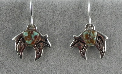 Silver & Kingman Turquoise Bear Earrings