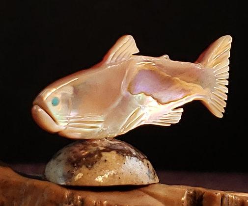 Zuni Fish Fetish Carving by Lloyd Tsalabutie