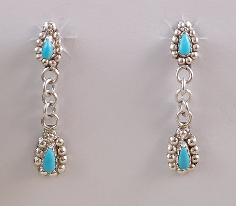 Sterling Silver & Sleeping Beauty Turquoise Tear Drop Earrings
