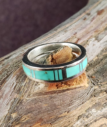 Sterling Silver & Turquoise Ring by Albert Tapaha, Navajo