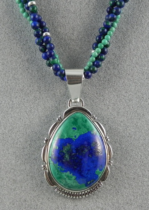 Sterling silver azurite pendant by b shorty home americana sterling silver azurite pendant by b shorty mozeypictures Images