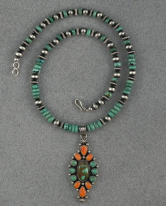 LaRose Ganadonegro Silver Turquoise & Spiny Oyster Necklace