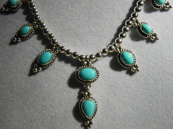 Sky Blue Turquoise & Silver Necklace & Earrings