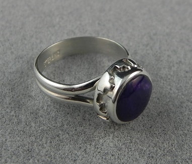 Silver & Purple Spiny Oyster Shell Ring sz 7